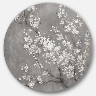 Designart 'White Cherry Blossoms II' Farmhouse Metal Circle Wall Art