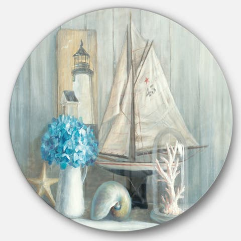 Designart 'Summer Nautical House' Nautical & Coastal Metal Circle Wall Art