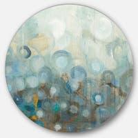 Designart 'Blue and Bronze Dots on Glass II' Geometric Metal Circle Wall Art