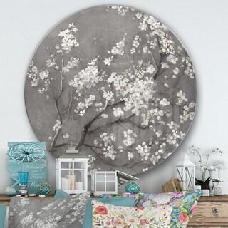 Designart 'White Cherry Blossoms I' Farmhouse Metal Circle Wall Art