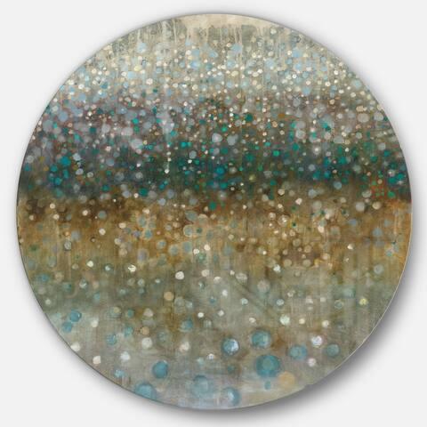 Designart 'Brown Rain' Geometric Metal Circle Wall Art