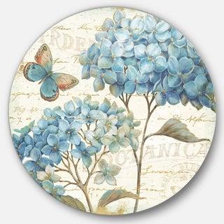 Designart 'butterfly Blue Garden II' Farmhouse Metal Circle Wall Art