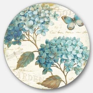 Designart 'butterfly Blue Garden I' Farmhouse Metal Circle Wall Art