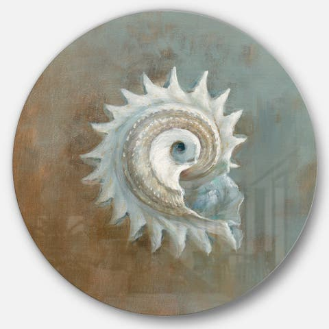 Designart 'Seashell Treasures from the Sea III' Nautical & Coastal Metal Circle Wall Art