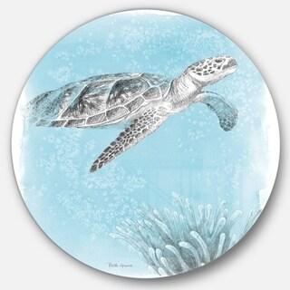 Designart 'Coastal Sea Life I Turtle sketches' Nautical & Coastal Metal Circle Wall Art