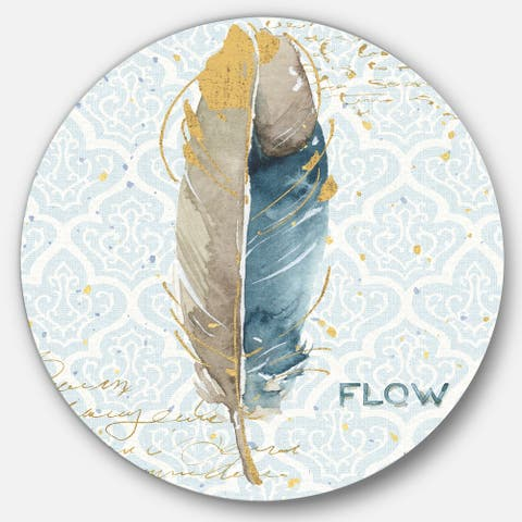 Designart 'Fields of Gold Watercolor Flower IV' Glam Metal Circle Wall Art