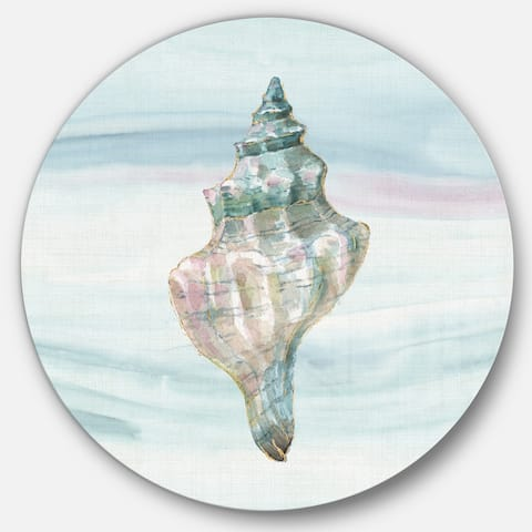Designart 'Ocean Metallic Conch' Nautical & Coastal Metal Circle Wall Art