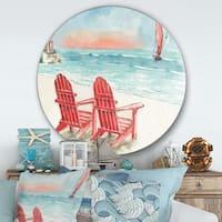 Designart 'Coastal Chair Relax Beach II' Nautical & Coastal Metal Circle Wall Art