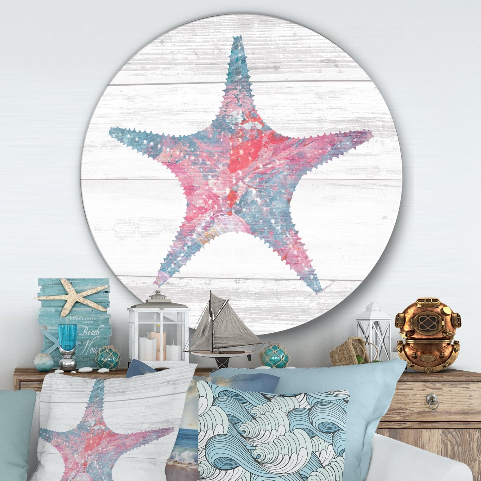 Designart Pink Starfish Ocean Life Nautical Coastal Metal Circle Wall Art