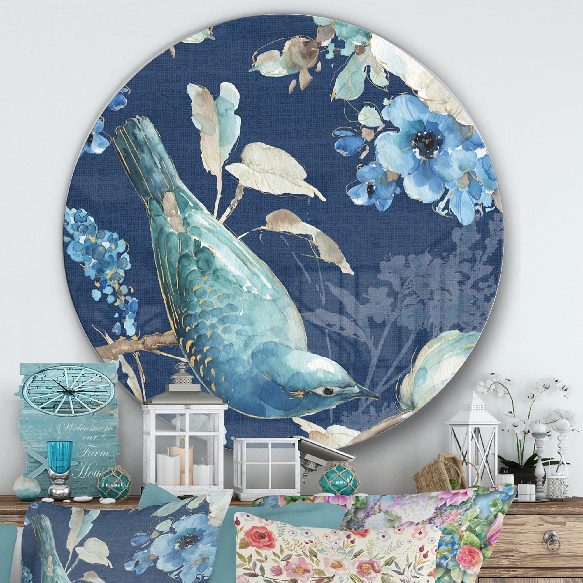 Metal Wall Art Decor Bird Flock Blue White Teal Color Sculpture by ZENDA IMPORTS