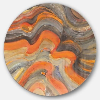 Designart 'Abstract Gilded Orange Waves' Geometric Metal Circle Wall Art