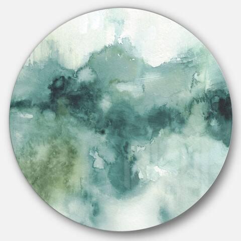 Designart 'Lost into the Blue' Geometric Metal Circle Wall Art