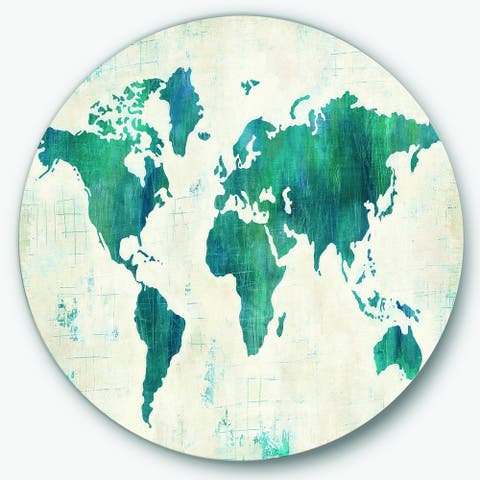 Designart 'Discover the World Map in Blue' Traditional Metal Circle Wall Art