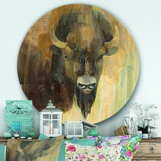 Designart 'Into the Wild Gold Buffalo' Farmhouse Metal Circle Wall Art