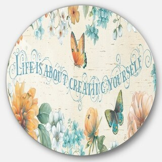 Designart 'Butterfly Bloom lovely Quote' Farmhouse Metal Circle Wall Art