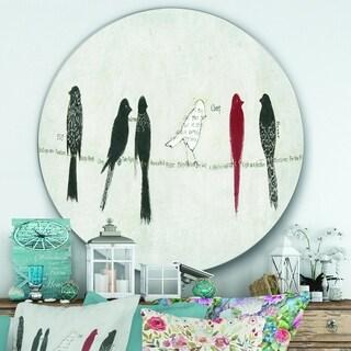 Designart 'Red Catching Up Bird Family' Farmhouse Metal Circle Wall Art