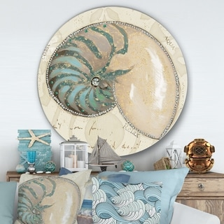 Designart 'Seastar and Blue Sea Shell I' Nautical & Coastal Metal Circle Wall Art