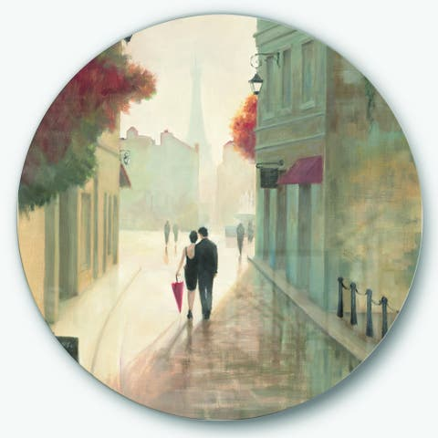 Designart 'Paris Romance Couples II' French Country Metal Circle Wall Art
