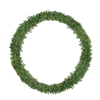Pre-Lit Buffalo Fir Commercial Artificial Christmas Wreath -6 Feet Clear Lights - N/A