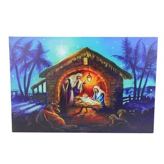 "LED Fiber Optic Lighted Nativity Scene Christmas Wall Art 15.75"" x 23.5"" - N/A"