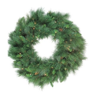 Pre-lit White Valley Pine Artificial Christmas Wreath - 36-Inch Clear Lights - N/A