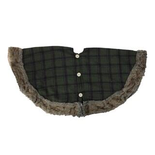 "47"" Green Plaid Christmas Tree Skirt with Faux Fur Border - N/A"