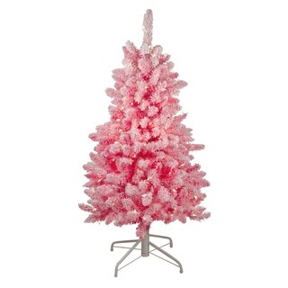"4' x 29"" Pink Pre-Lit Flocked Artificial Christmas Tree - Clear Lights - N/A"