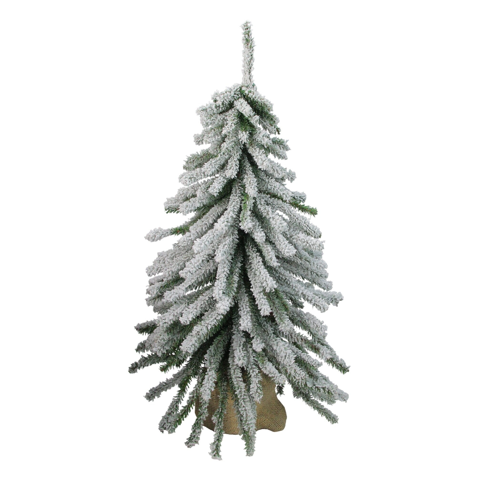 2 Flocked Downswept Mini Village Pine Artificial Christmas Tree In Burlap Base Unlit