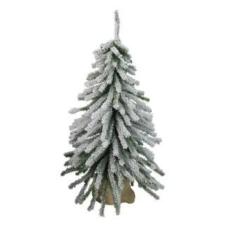 2' Flocked Downswept Mini Village Pine Artificial Christmas Tree in Burlap Base - Unlit