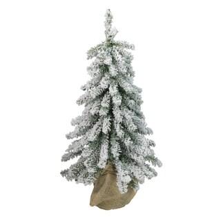 "15"" Flocked Downswept Mini Village Pine Artificial Christmas Tree in Burlap Base - Unlit"