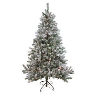 7' Pre-Lit Flocked Balsam Pine Artificial Christmas Tree - Clear Lights - N/A