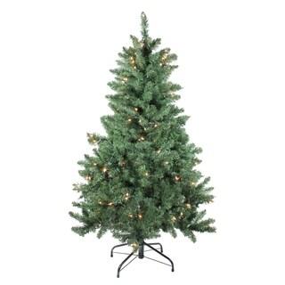 4.5' Pre-lit Medium Buffalo Fir Artificial Christmas Tree - Clear Lights - N/A