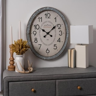 The Gray Barn Jartop Oval Galvanized Clock