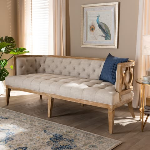 French Provincial Beige Linen Fabric Upholstered Sofa