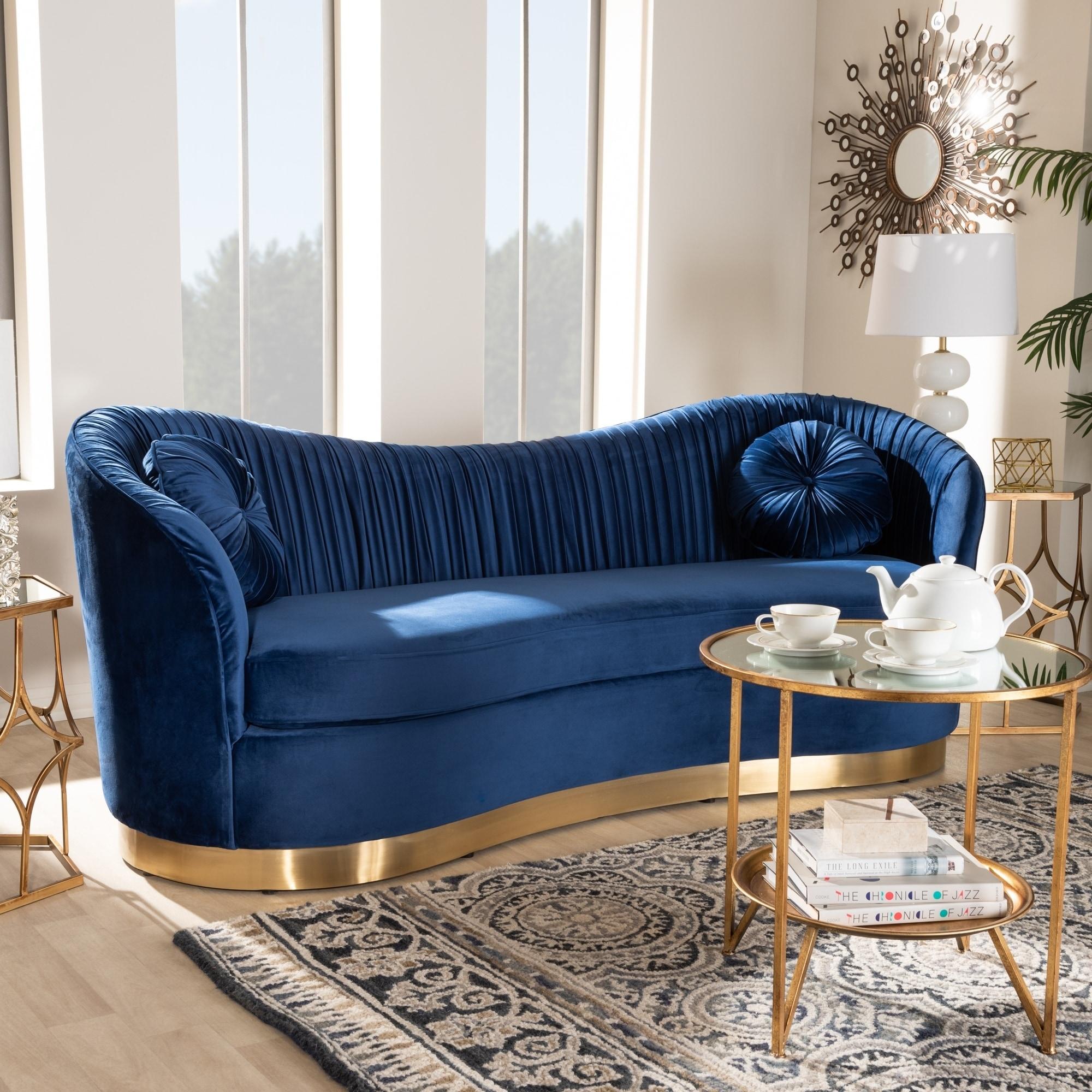 Glam Royal Blue Velvet Fabric Upholstered Sofa
