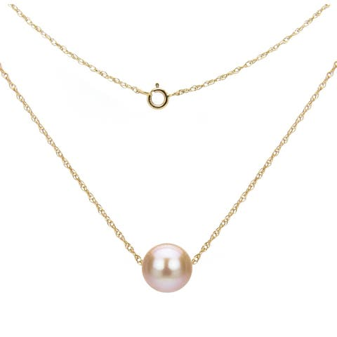 DaVonna 14k Gold Necklace with Pink Freshwater Floating Pearl Jewelry Necklace, 18""
