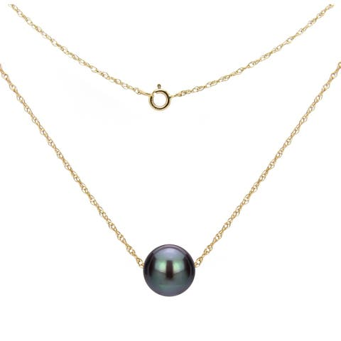 DaVonna 14k Gold Necklace with Black Freshwater Floating Pearl Jewelry Necklace, 18""