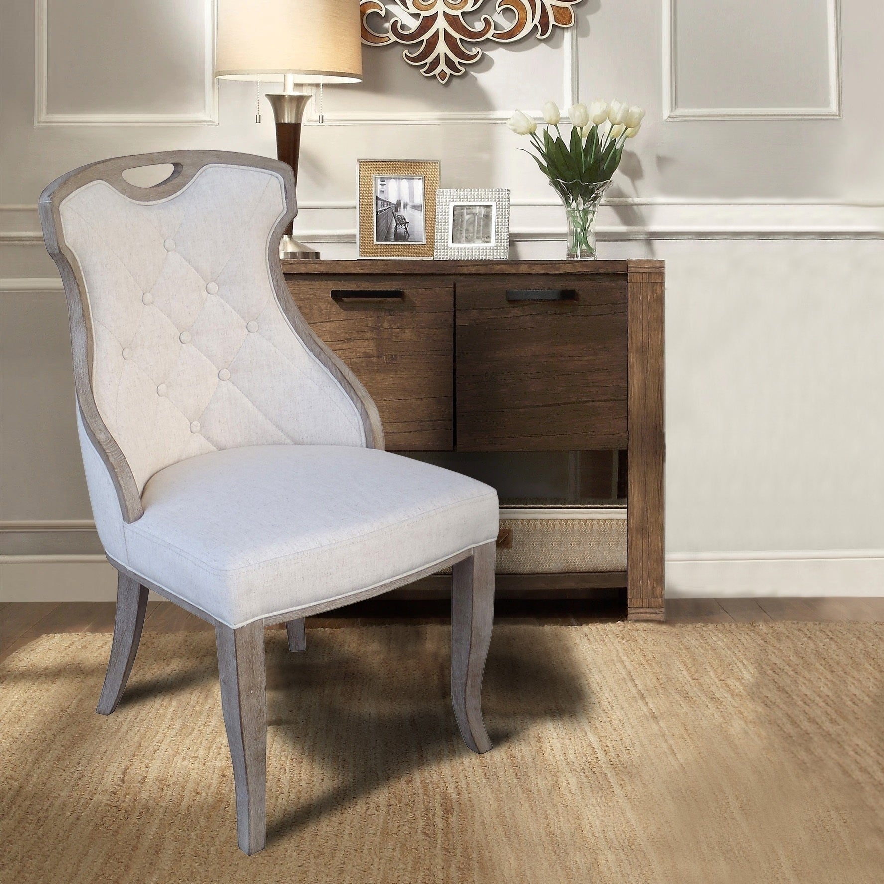 Linen Y Back Dining Chair With Handle Set Of 2