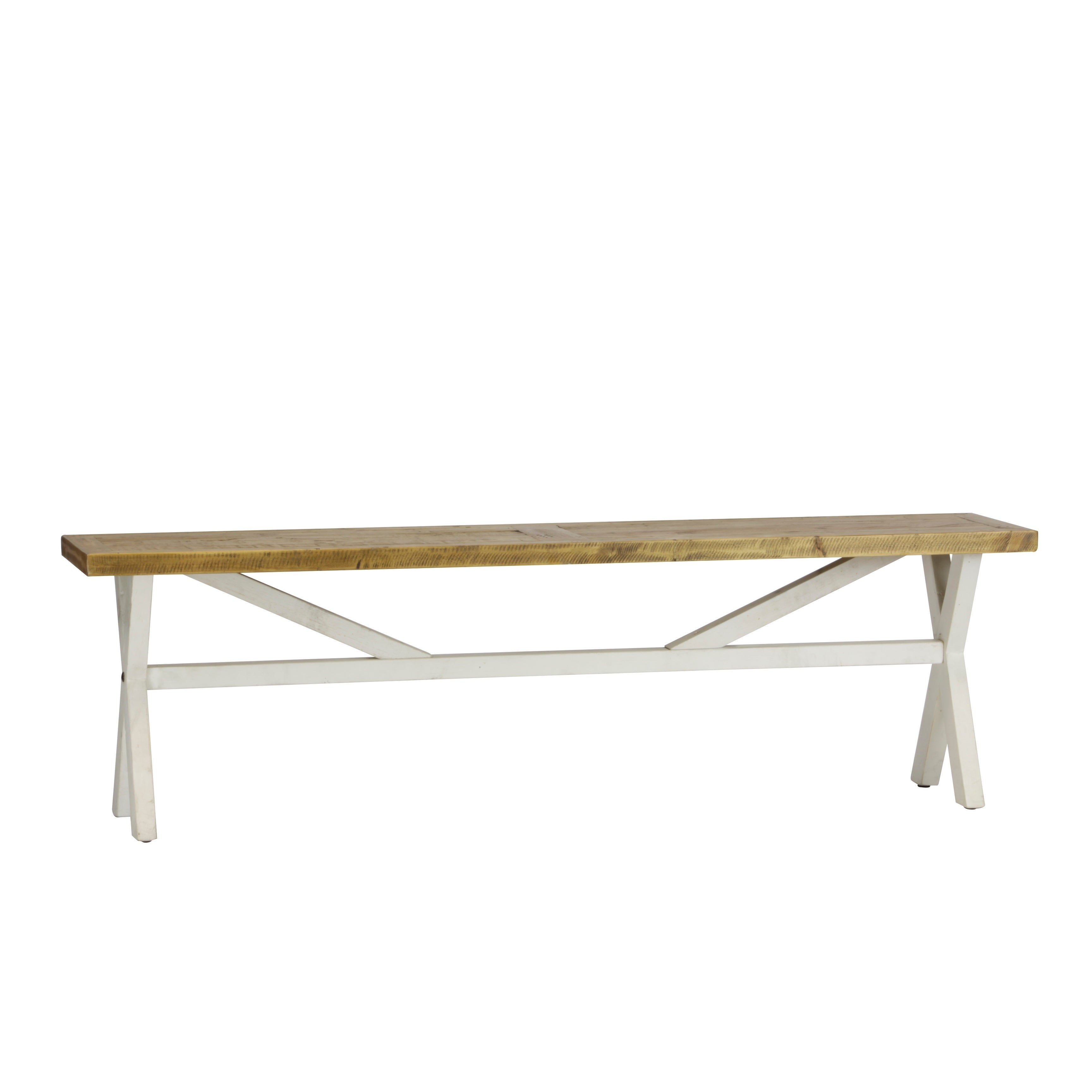 Pleasant Highland Distressed White Solid Reclaimed Wood Bench Machost Co Dining Chair Design Ideas Machostcouk