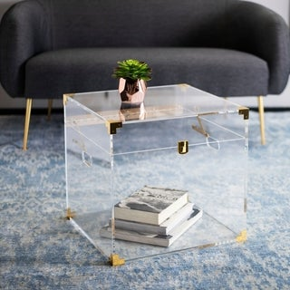 "Safavieh Couture Isidra Acrylic Trunk End Table - Clear - 18"" x 18"" x 18"""