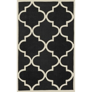 Black Ivory Moroccan Trellis Wool Area Rug