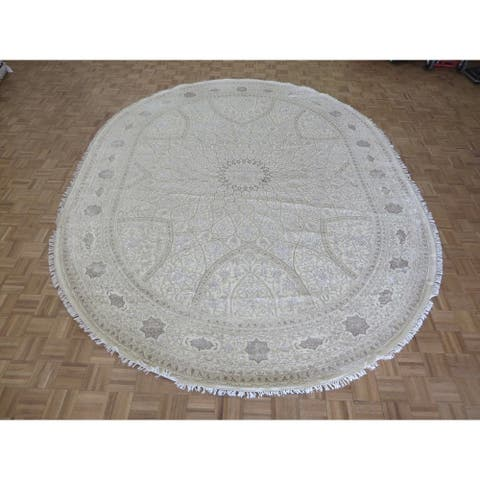 """Hand Knotted Beige Gumbad with Wool & Silk Oriental Rug (10' x 13'2"""") - 10' x 13'2"""""""