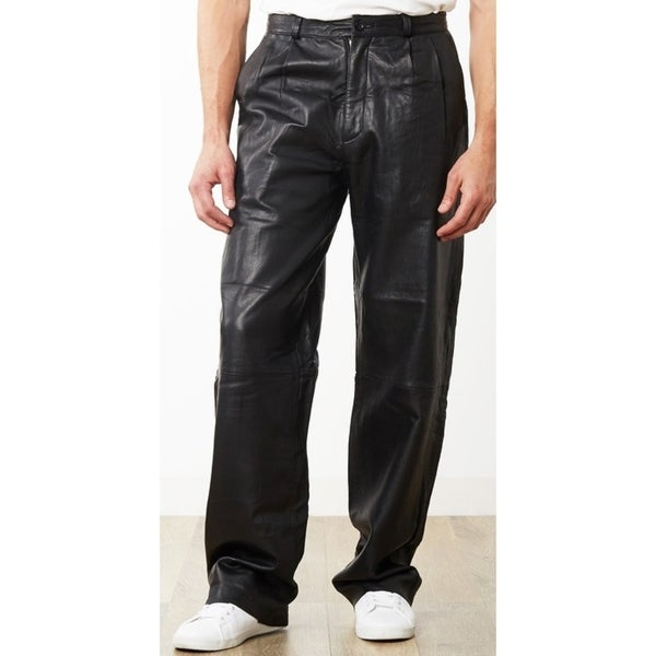 Men's Black Lambskin Leather Pleated Front Dress Pants
