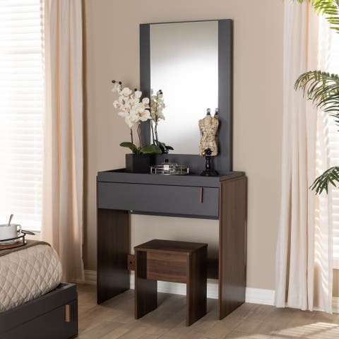 Contemporary Bedroom Vanity with Stool