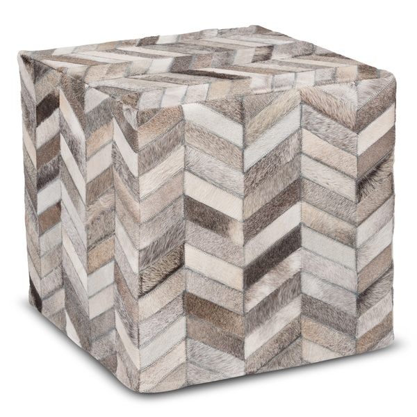 Carbon Loft Conor Handmade Grey Chevron Cow Hide Leather Square Ottoman Pouf