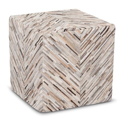 The Curated Nomad Hallam Handmade Grey Chevron Cow Hide Leather Square Ottoman Pouf