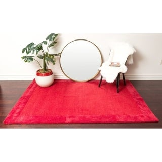 Wine Red Solid Bordered Wool Area Rug