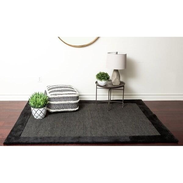 Black Solid Wool Bordered Dark Grey Wool Area Rug