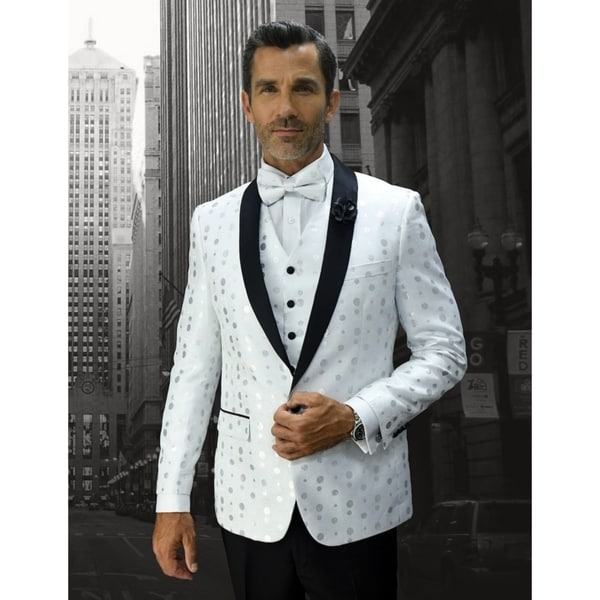 Statement Bellagio13 White Tuxedo with matching bow tie