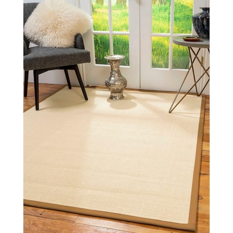 "Natural Area Rugs 100%, Natural Fiber Handmade Deco, Cream Sisal Rug, Doe Border - 2'6"" x 10'"